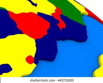 Mozambique and Zimbabwe on colorful political globe. 3D illustration