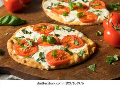Mozarella Basil and Tomato Flatbread PIzza on Naan Bread