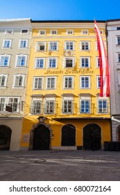 Mozarts birthplace or Mozarts Geburtshaus or Hagenauerhaus was the birthplace of Wolfgang Amadeus Mozart at Getreidegasse street in Salzburg, Austria