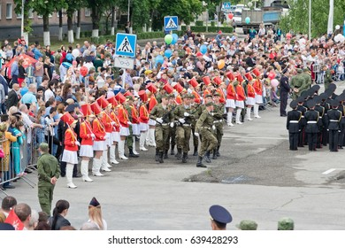 MOZDOK, RUSSIA - MAY 9:The build of troops in the main square of the city on the occasion of the parade on victory day. May 9, 2017  in  North Ossetia-Alania, Mozdok, Russia