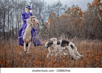 """MOZHAISK, MOSCOW- OCTOBER 5, 2013 : Historical reconstruction of famous Russian hounds hunting by horse club """"Avanpost""""."""
