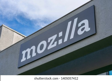 Mozilla (stylized as moz://a) sign on Silicon Valley office of a not-for-profit Mozilla Foundation - Mountain View, California, USA - May 22, 2019