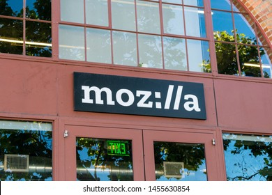 Mozilla (stylized as moz://a) sign on downtown office of a not-for-profit Mozilla Foundation - San Francisco, California, USA - July 12, 2019
