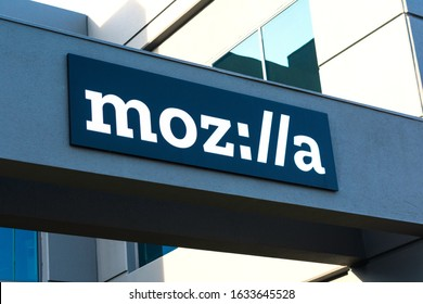 Mozilla, stylized as moz://a , sign on Silicon Valley office of a not-for-profit Mozilla Foundation - Mountain View, California, USA - 2020