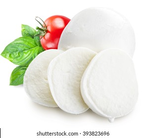 Mozzarella, basil and tomatoes. File contains clipping paths.