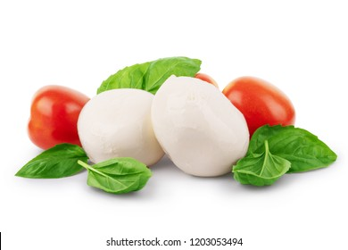 Mozzarella cheese with cherry tomatoes and basil on a white background
