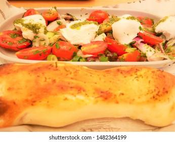 Mozzarella cheese and tomato salad & bread