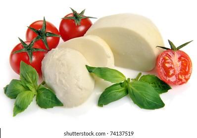 mozzarella cherry tomatoes basil on a white background