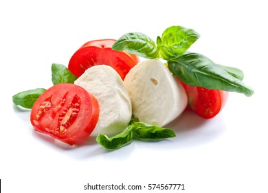 mozzarella with tomato and basil isolated on a white background