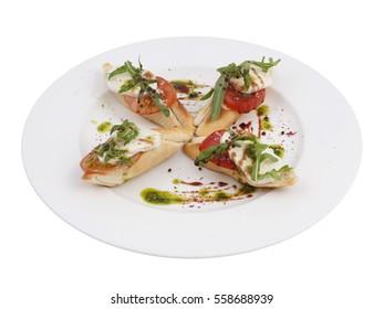Mozzarella Tomato Bruschetta Italian Antipasto Topped Appetizer Snack Dish Set