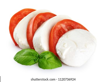 Mozzarella tomatoes and basil isolated on white background. With clipping path.