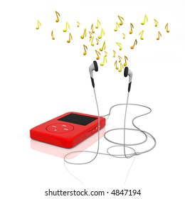 mp3 player with earphones and notes flying over them