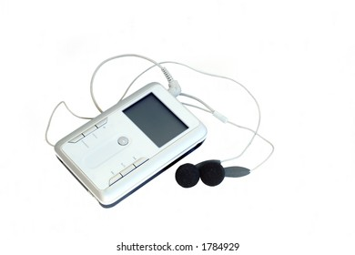 an mp3 player isolated on white, with a clipping path