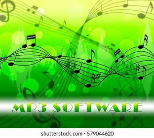 Mp3 Software Floating Notes Means Music Program Or Player