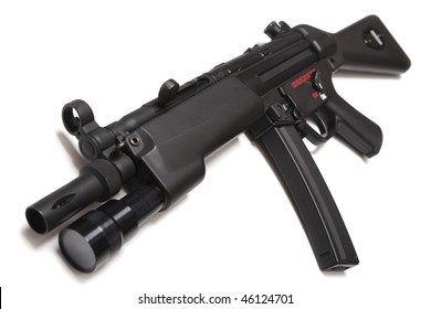 MP5 - modern submachine gun with tactical flashligt. Isolated on white background.