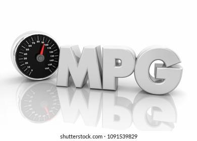 MPG Miles Per Gallon Speedometer Acronym 3d Render Illustration