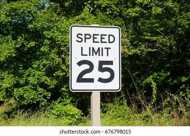 The MPH speed limit sign on a close up view.