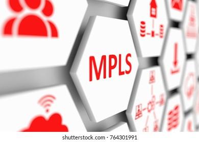 MPLS concept cell blurred background 3d illustration