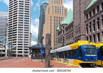 MPLS, MN/USA - JUNE 28, 2015: Central business district of Minneapolis. Together, the twin cities of Minneapolis and St. Paul anchor the second largest economic center in the Midwest behind Chicago.