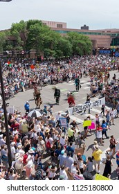 MPLS, MN/USA – JUNE 30, 2018: Protesters line streets in support of the national rally Families Belong Together in downtown Minneapolis.