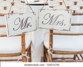 Mr. & Mrs. Signs on Chairs