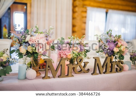 Mr Mrs Signs On Wedding Table Stock Photo (Edit Now) 384466726 ...