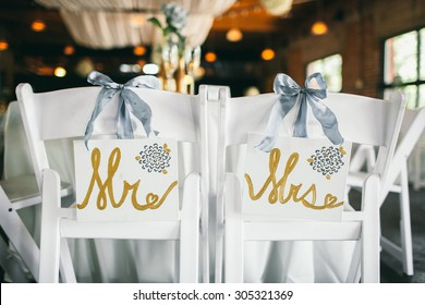 """Mr. & Mrs."" Wedding Bride and Groom Signs at Reception"