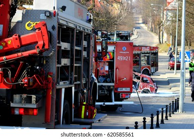 Mragowo, Poland, Exercises simulating a traffic accident - March 18, 2015: Fire trucks