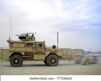 MRAP military vehicles on duty in Afghanistan.