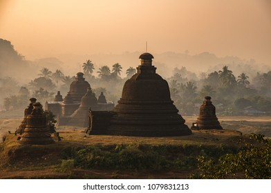 Mrauk U ancient city in a morning sunrise , Mrauk U, Rakhine state, Myanmar.