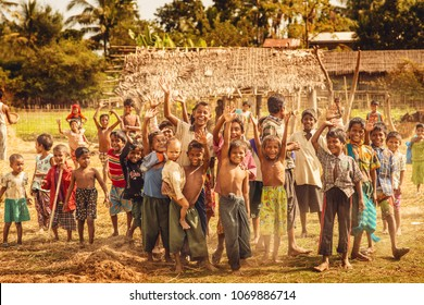 Mrauk U, Myanmar -  December 2, 2015 : 