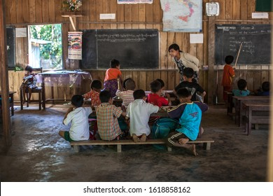 MRAUK U, MYANMAR - JANUARY 7: Unidentified children study at Pan Paung Village school, It's a basic education primary school in the village on Jan 7, 2020