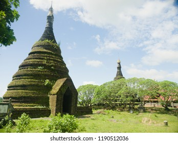 Mrauk u  Myanmar on October 04, 2015:  architecture of Buddhist Temple was specific to Arakan Kingdom