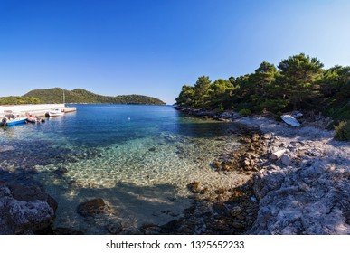 Mrcara bay with its turquoise water and old fishing boats. Lastovo is one of the most remote islands in Croatia.