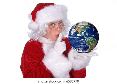 Mrs. Claus with Earth in her hand isolated over white