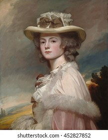 Mrs. Davies Davenport, by George Romney, 1782-84, British painting, oil on canvas. Romney was a prolific and very successful society portraitist in London from 1776 to 1795