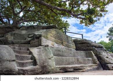 Mrs Macquarie's Chair is an exposed sandstone rock cut into the shape of a bench, on a peninsula in Sydney Harbour, one of major attraction of Royal Botanic Gardens