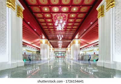 MRT Sanam Chai station, Bangkok, Thailand - 16 April 2018: Underground train station decorated in Thai royal style contexts. Selected focus at foreground. Tripod used. Transportation collection.