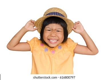MS asian child funny face on white background isolated