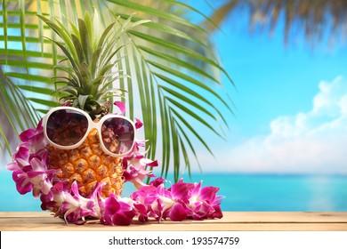 Ms pineapple on beach table