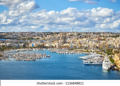 Msida harbour and city view from Valetta, Malta
