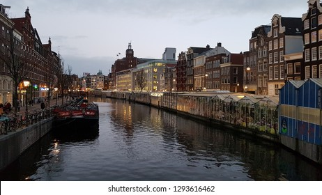 MSTERDAM, NETHERLANDS - 02 January 2019 View of city area with building, people and other details