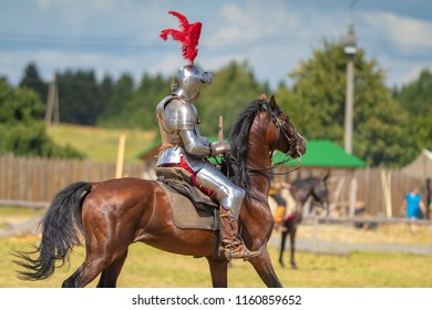 "MSTISLAVL, REPUBLIC OF BELARUS - AUGUST 04-05, 2018: Festival of medieval culture ""Knights Fest. Mstislavl 2018"". Horse fighting, the performance of knights on horses."