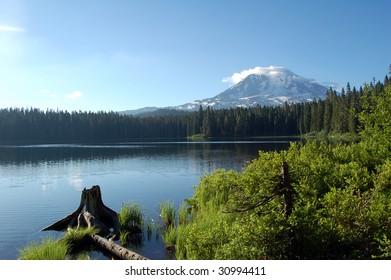 Mt. Adams behind a lake in Washington State