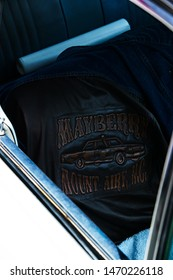 Mt. Airy, NC/USA August, 4, 2019  This custom leather jacket was found on the passenger side seat, inside of the old Mt. Airy Sheriff's car.