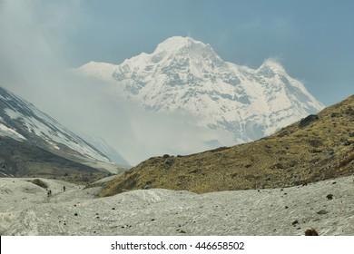 Mt Annapurna South views hiking to Annapurna base camp, Nepal