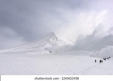 Mt. Asahi, Hokkaido, Japan volcanic peak in Daisetsuzan National Park during winter season.