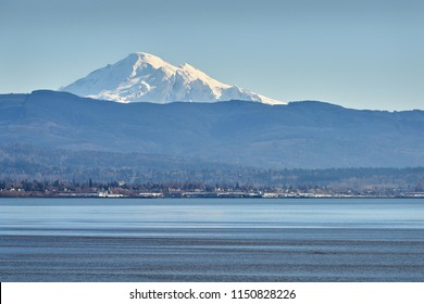 Mt Baker across Bellingham Bay, Washington. Mount Baker rising up behind Bellingham Bay in Washington State.