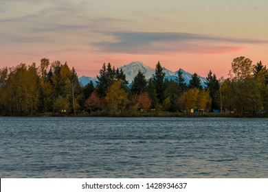 Mt Baker from Mill Lake in Abbotsford BC