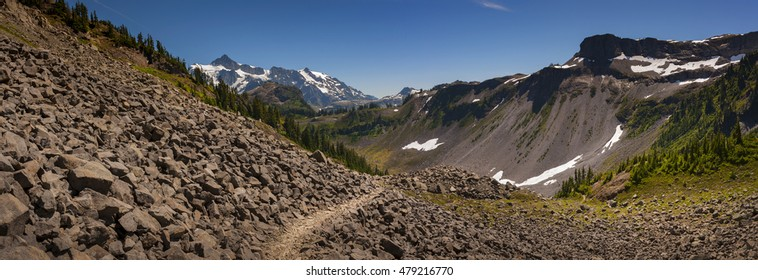 Mt. Baker National Forest. This gorgeous loop hike has it all: big views of Mounts Baker and Shuksan, beautiful lakes and meadows and an abundance of wildflowers during summertime. Washington State.